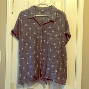 Old Navy Chambray Button Down w/ Palm Trees xxl